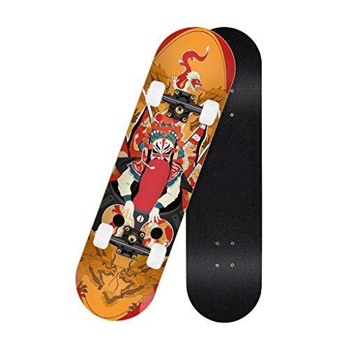 Skateboard Cruiser 7 Capas Maple Double Kick Monopatin Skateboard Nino Concave Skate Board Games para Adulto Niños Niño Chica Niia Longboards Completos Principiantes (Color : D)