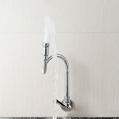 Ziehen Flexible Schwanenhals nach unten Einhand-Küche Toilette Wannen-Hahn-Einrohr-Kaltwasserarmaturen, Chrom poliert