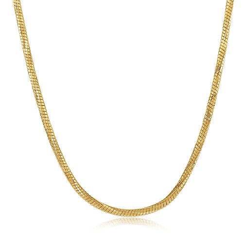 The Bling Factory 1.5mm Diamond-Cut 0.25 mils 14k Yellow Gold Plated Round Snake Chain Necklace, 20 inches + Jewelry Cloth & Pouch