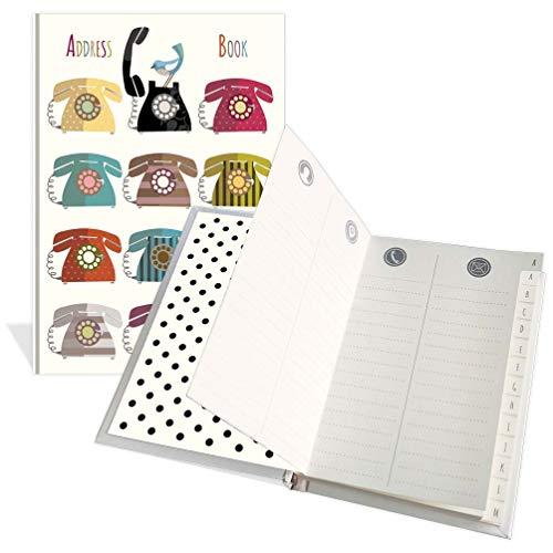 Libreta de direcciones de bolsillo, diseño de tweeter y teléfonos, 104 páginas, 91 mm x 130 mm