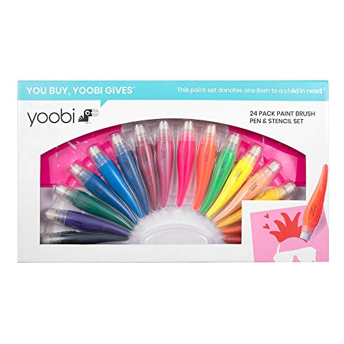 Yoobi | Washable Paint Set | 24 Piece Set Includes 8 Stencils and 16 Paint Brush Pen Colors | Holiday Multicolor