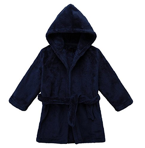 Yanzi6 Unisex-baby Winter Soft Soft Coral Fleece Flush Hooded Bath Robe (12-18 Months,Deep-Blue),M