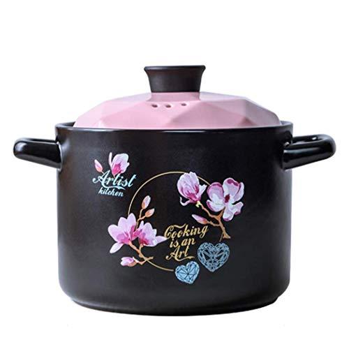 RANRANJJ Cazuela con Tapa |Pre-sazonados cocción Lenta Pot |Hierro del Horno holandés |Antiadherente Utensilios de Cocina Plato púrpura de la cazuela (Color : Pink)