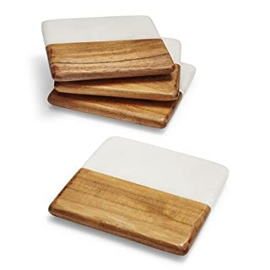 Sur La Table Marble and Wood Coasters STW - 3320 C , Set of 4