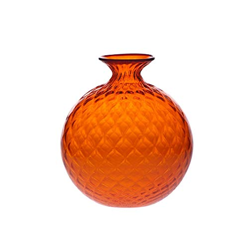 Venini Vase Ballotton Monoblume groß orange Draht Indigo