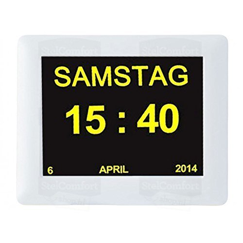 Digitaler Kalender Tag Uhr | Alzheimeruhr | Seniorenuhr | Clock für Sehbehinderte Senioren