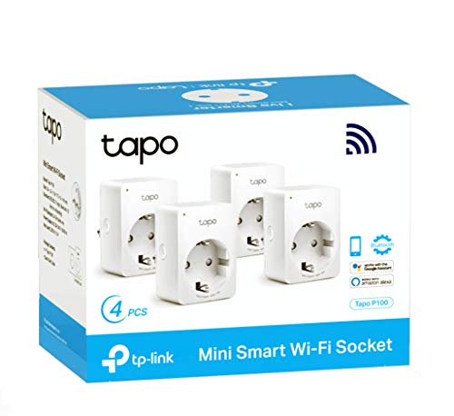 TP-Link Tapo P100 4-pack - WiFi Enchufe Inteligente Mini tamaño para Controlar su Dispositivo Desde Cualquier Lugar, sin Necesidad de Concentrador, Funciona con Amazon Alexa y Google Home