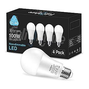 Fulighture LED Bombillas E27 12W, 100W equivalente incandescente, A60 ultra brillante 1100LM, 240 ° ángulo del haz para el dormitorio, sala de estar, pasillo, paquete de 4, 3000K Blanca Cálida