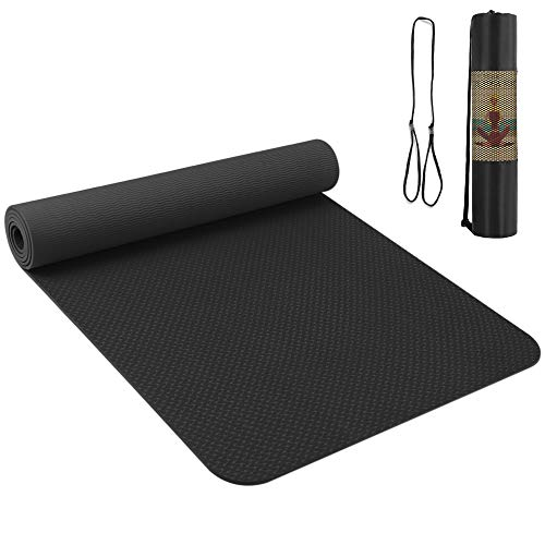 Roeam Yogamatte Schwarz, Gymnastikmatte Turnmatte Jogamatte Sportmatte Rutschfest aus TPE Material für Yoga Pilates Fitness, 183 x 61 x 0.6 cm