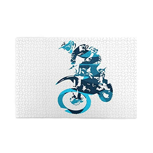 Jigsaw Puzzles 1000 Pieces,Blue Bike Men Motor Jumping Freestyle People Sports Recreation Dirt Race Silhouette Motorcycle,Family Large Puzzle Game Artwork and Great Gifts for Adults Teens Kids
