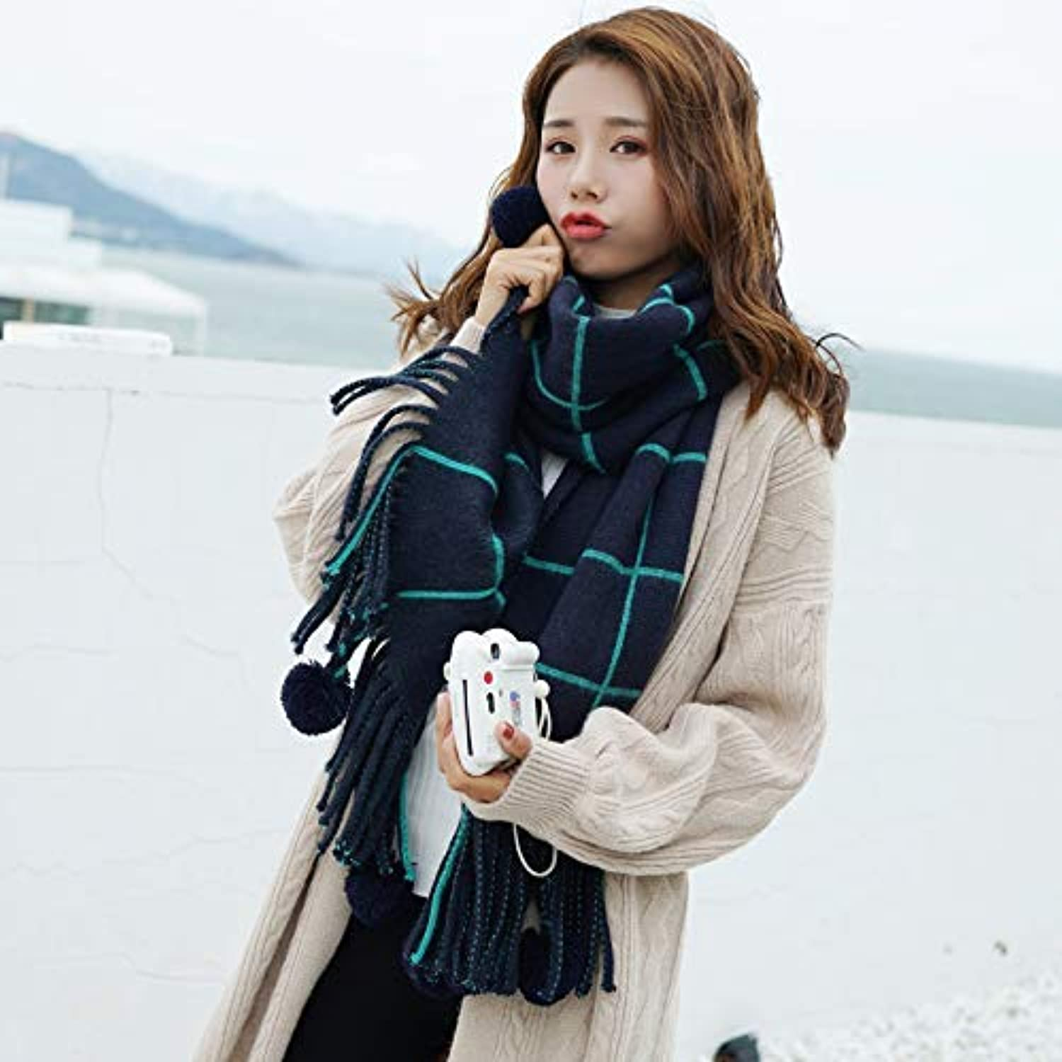 Scarf for Gift Scarf Women's Wild Autumn Winter Women's Knit Thicken Wool Plaid Ball Neck Knitting (color   White) Classic Scarf (color   Green)