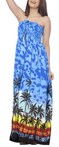 LA LEELA Likre Parti hawaïen 3 en 1 Casual Longue Robe Cocktail Robe soirée Licol Cou Demoiselle d'honneur Jupe Sundress Plage Usure Couvrir Dames Bleu loungewaer Robe sans Manches Bandeau