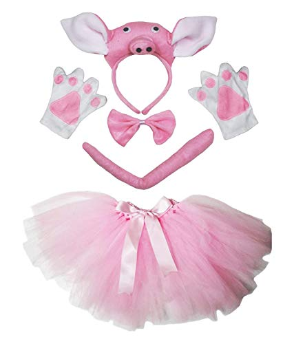 Petitebelle - Disfraz de cerdita, con diadema, pajarita, cola, guantes, tut, rosa