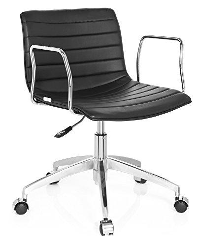 hjh OFFICE 720030 fauteuil lounge à roulettes, chaise de bureau LEVI noir avec accoudoirs, design coque, dossier bas avec surpiqûres horizontales, style à la fois rétro et moderne, piètement robuste en aluminium