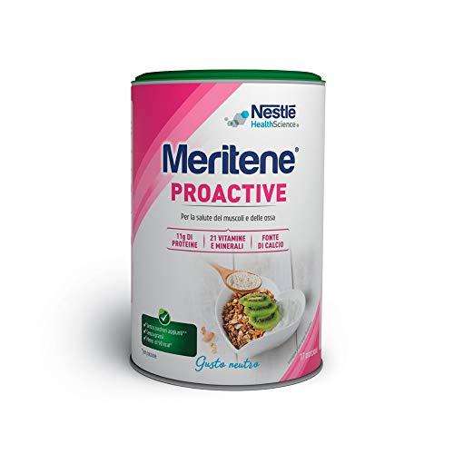 Meritene Proactive, integratore alimentare per le donne, con calcio e vitamina D, supporto per le ossa, muscoli e articolazioni, riduzione della stanchezza e dell'affaticamento, barattolo da 408g