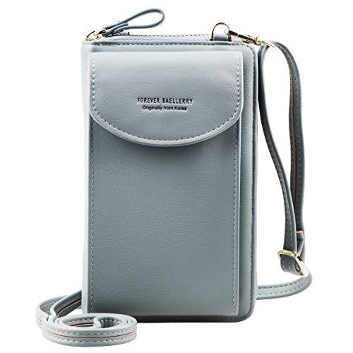 Jangostor kleine Crossbody Tasche Handy - Tasche Brieftasche mit Credit Card Slots für Frauen (Light Blue)