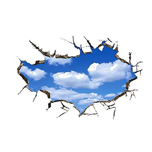 WandSticker4U®- Wandtattoo in 3D Optik: Wolken am Himmel I Wandbild: 60x90 cm I Wandsticker Poster Wand Aufkleber Tapete I Deko für Wohnzimmer Schlafzimmer Badezimmer Decke