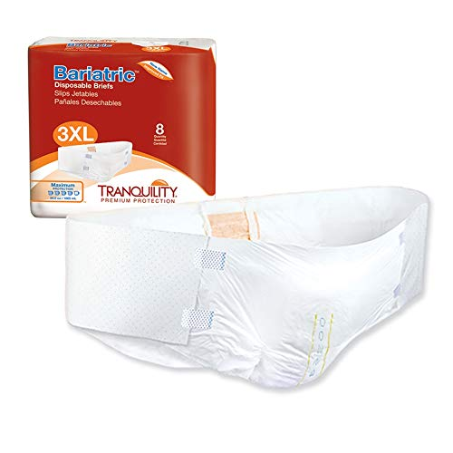 hp adult diapers Tranquility Adult Diaper Bariatric Briefs 3XL-Large/XL+ (Pack of 8)