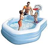 Swim Center Family Pool, Piscina Familiar Inflable con Canasta De Baloncesto Inflable Y Baloncesto, Piscina Infantil para Niños Pequeños Adultos