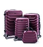 R.Leone Valigia Set 4 Trolley Rigido grande, medio, bagaglio a mano e beauty case 8 ruote in ABS 2026 (Bordò, Set 4 XS X M L)