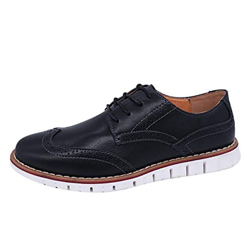 S&H-NEEDRA Hommes Chaussures Affaires Travail Casual Décontractée Solide Lacer Oxfords Brock Respirant Appartement Cuir