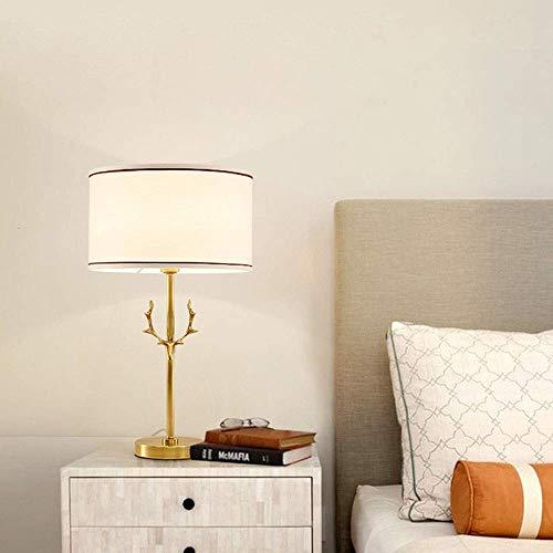 Lámpara Escritorio Moderno, simple y translúcido, material de la pantalla de la pantalla de lino blanco, todo el material de cobre, lámpara de mesa con forma de ciervo dorado, lámpara de noche, lámpar