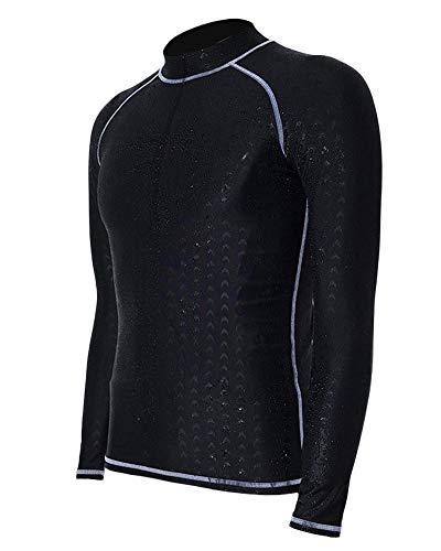 QitunC Herren Lange Ärmel Badeshirt Neoprenanzug Tops Schnelltrocknend Sonnenschutz Schwimmshirt Rash Guard Grau XL