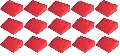 LEGO City - 15 rote Dachsteine / Schrägsteine / Dachziegel / Dachpfannen 33° 3x4 Noppen 3297