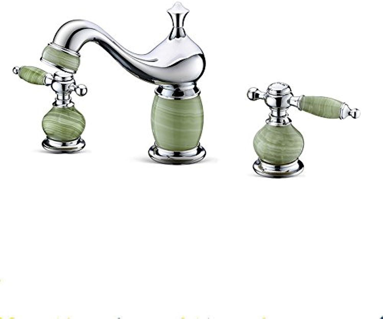 LHbox Bad Armatur in Bad für Waschbecken Waschtisch Wasserhahn Waschtischarmatur Aus massivem Messing mit Intarsien Jade Split Waschtischmischer Chrom Farbe Wasserhahn