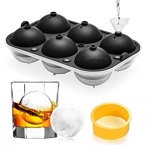 製氷皿Ankway丸氷アイスボールメーカー大きい氷直径6.5cm溶けにくい透明氷ロックアイスビールウイスキーハイボールアイスクリームジュースカルピス(大きい丸型6個取り)