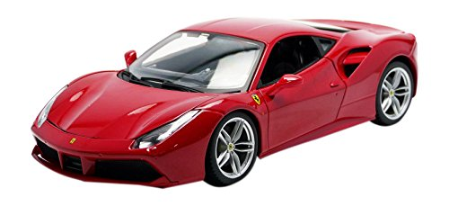 Bburago- Ferrari 488 GTB 2015 1/18 Rouge Miniature Voiture de Collection, 16008R