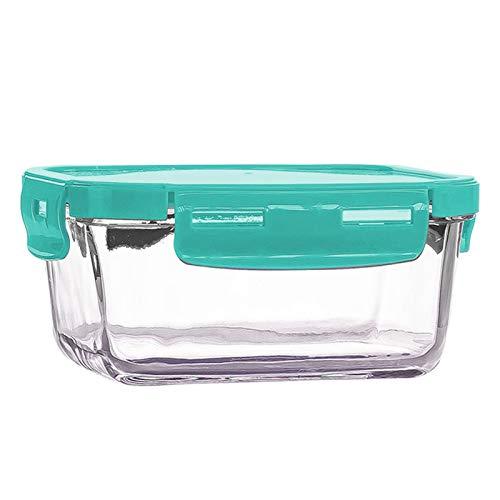 Contenedor de vidrio para preparación de comida, se puede colocar en el refrigerador en el almacenamiento de la caja de vidrio de alimentos, caja de vidrio. Altura: 7,5 cm, ancho: 18,1 cm. Verde.