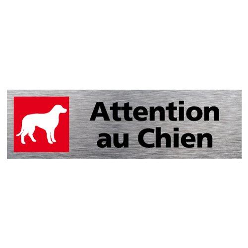 Sticker de Porte Attention au Chien - Aspect Aluminium Brossé - Dimensions 170 x 50 mm