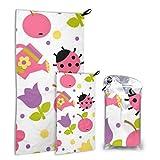 N\A Summer Apple Ladybug 2 Pack Microfiber Pool Towel Womens Towel Set de Secado rápido Lo Mejor para el Gimnasio Mochilero de Viaje Yoga Fitnes