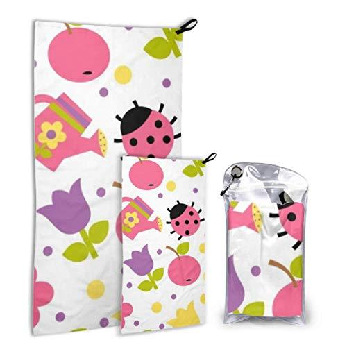 N\A Summer Apple Ladybug 2 Pack Microfiber Pool Towel Womens Towel Set Dry Fasting Best for Gym Travel Backpacking Yoga Fitnes