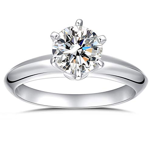 Platinum Plated Sterling Silver Round Cut 2ct Solitaire Engagement Ring 6 Pron Size 8