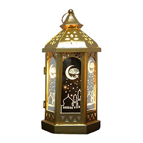 karrychen Happy Eid Mubarak Metal LED Lights Festival Lantern Ramadan Decoration Muslim- 1#