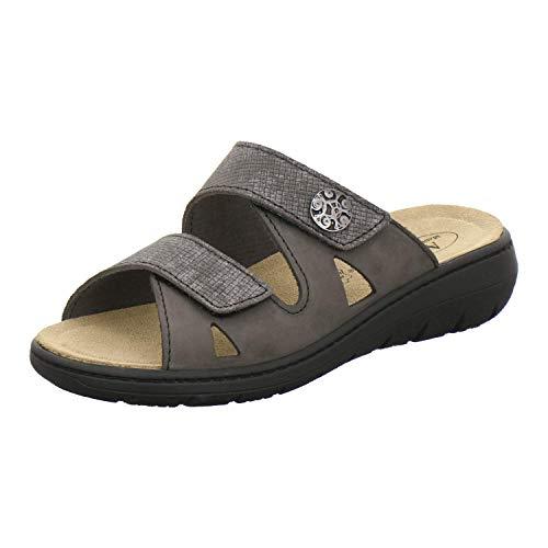 AFS-Schuhe 2808, komfortable Damen-Pantoletten aus Leder, praktische Arbeitsschuhe mit Wechselfußbett, Bequeme Hausschuhe (38 EU, Grau/Stone)