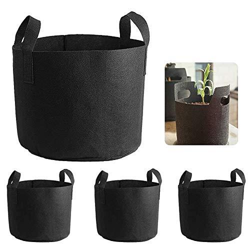 不織布ポット 植栽袋 鉢 フェルト ガーデン 植物が元気に育つ バッグ 布 ベランダ 通気性 園芸 植物 野菜栽培 植物育成 発育促進 4個セット (黒 3ガロン)