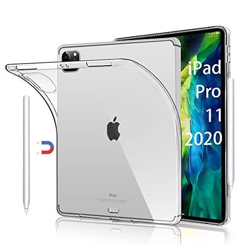 HBorna Funda para iPad Pro 11' 2020 & 2018 Carcasa Case - Soft Back Cover Case Flexible TPU Silicona Fundas para iPad Pro 11 Carcasa Protector [Compatible with Apple Pencil Charging], Transparente