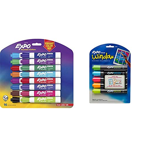 EXPO 1927526 Low-Odor Dry Erase Markers, Chisel Tip, Vibrant Colors, 16-Count & 1752226 Neon Dry Erase Markers, Bullet Tip, Assorted Colors, 5-Count