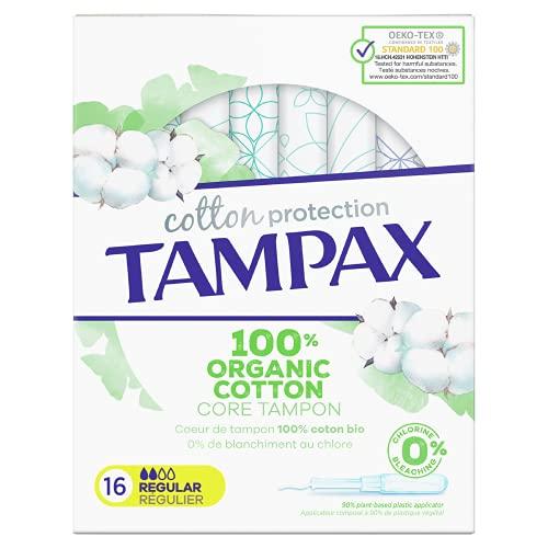 Tampax Cotton Protection Régulier Avec Applicateur Coeur de Tampon En Coton Biologique, 16 unités