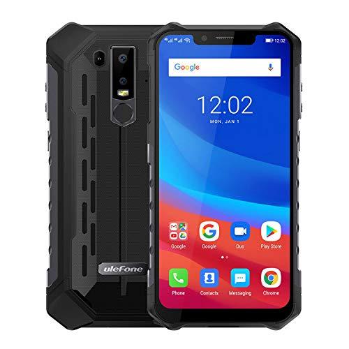 Ulefone Armor 6 Smartphone - IP68 Etanche 6.2' 19: 9 FHD Ecran Helio P60 6GB + 128GB 5000mAh Android 8.1 Double caméra arrière 21MP + 13MP NFC Face Déverrouiller la Version Mondiale Téléphone(Noir)