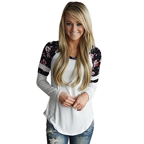 Longra Damen Shirt Langarm Bluseshirt mit Blumendruck Basic Langarmshirt Striped Oberteil Casual Tops Bluse Elegant Lose Frühling Herbst (White, S)