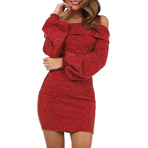 Likecrazy Schulter Pulli Kleid Weise frauen Shirtkleid Herbst Winter Mode Streetwear Damen Elegant Pullover Langarm Strickkleid Halter dünnes reizvolles Kleid Tops Slim Fit PulloverKleid (rot,L)