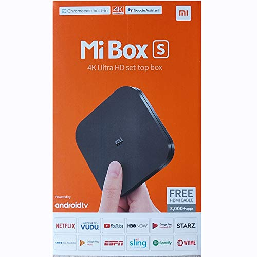 Xiaomi Mi Box S Android TV with Google Assistant Remote Streaming Media Player - Chromecast Built-in - 4K HDR - Wi-Fi - 8 GB - Black