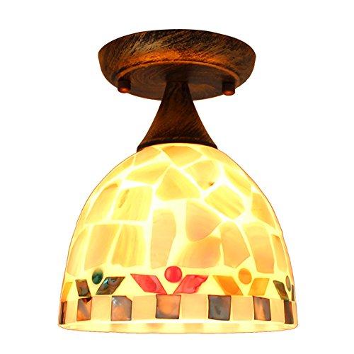 Plafonnier Tiffany - Style contemporain simple - Couleur naturelle - Abat-jour en verre et verre - Éclairage intérieur - Lampe de balcon - Diamètre : 17 cm - E27