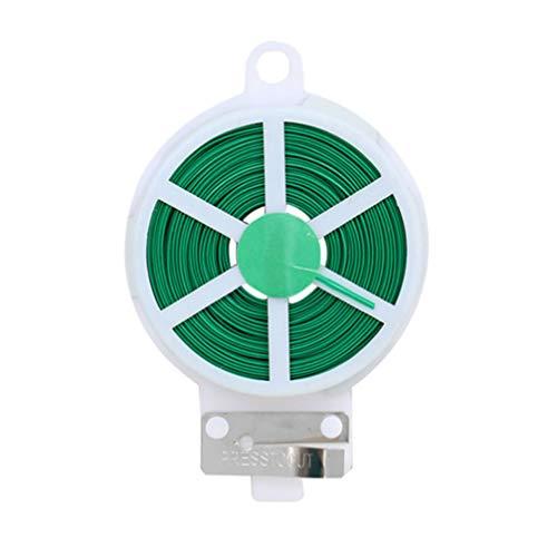 Gardening Twist Ties - Cuerda de alambre de hierro recubierto de plástico con cortador de alambre de metal (20 m), color verde
