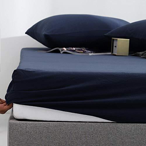 GaoTianyou Sábana Ajustable de algodón, Funda de colchón de Color sólido con Banda elástica, sábanas, sábanas, sábana Doble tamaño Queen -Zhangqing_150cmx200cm * 28cm (cpcs)