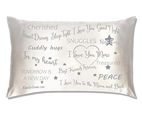 Blankiegram Say I Love You with This Satin Pillowcase The Perfect Caring Gift That says I Care for My Family, Best Friends and Sweethearts (Grey,Large)